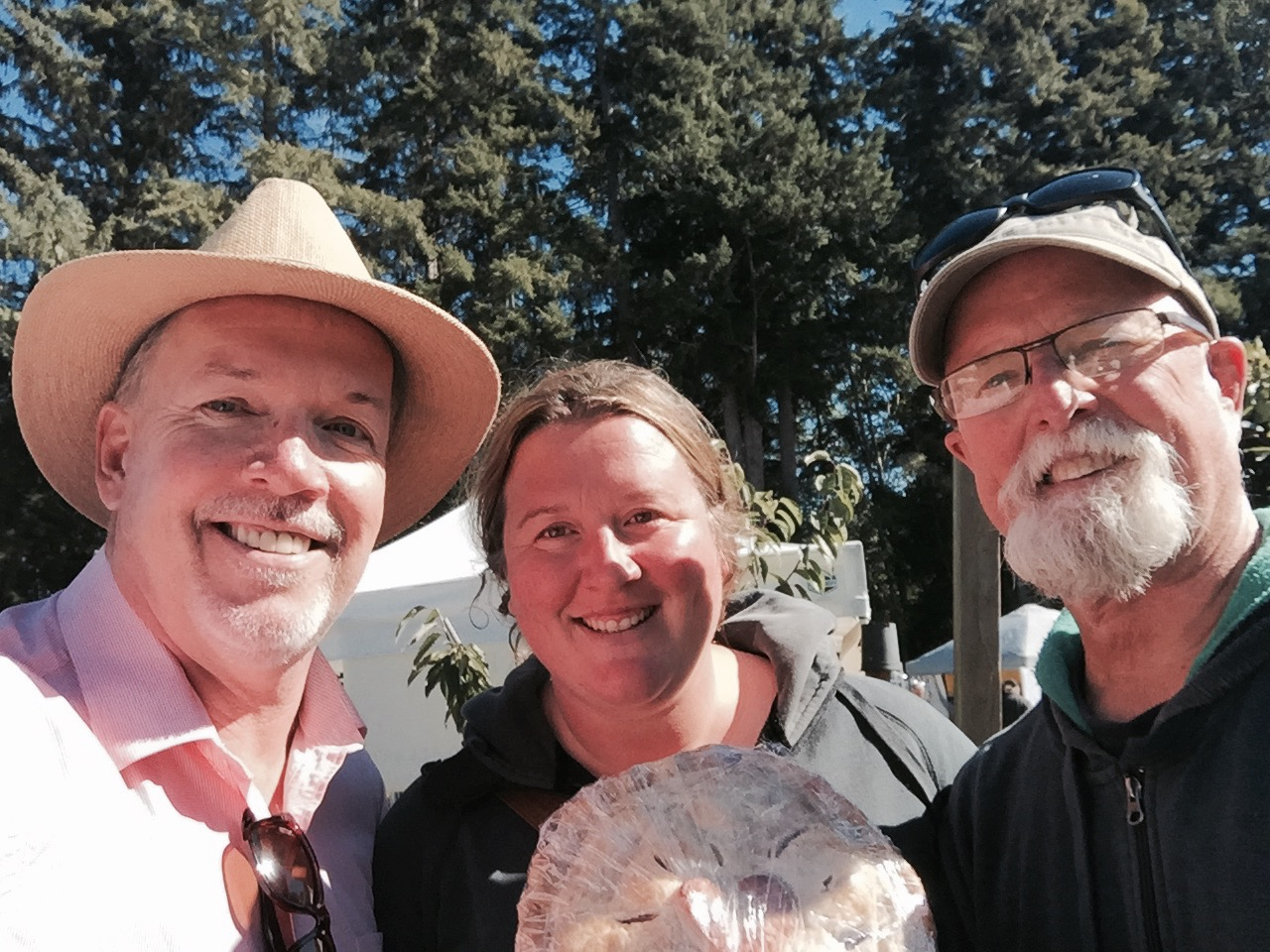 John Horgan with daughter Jessica Boquist and her dad John Boquist