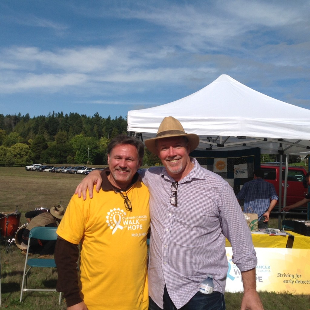 John Horgan with Phil Venoit, Co-Organizer Ovarian Cancer Walk 2015