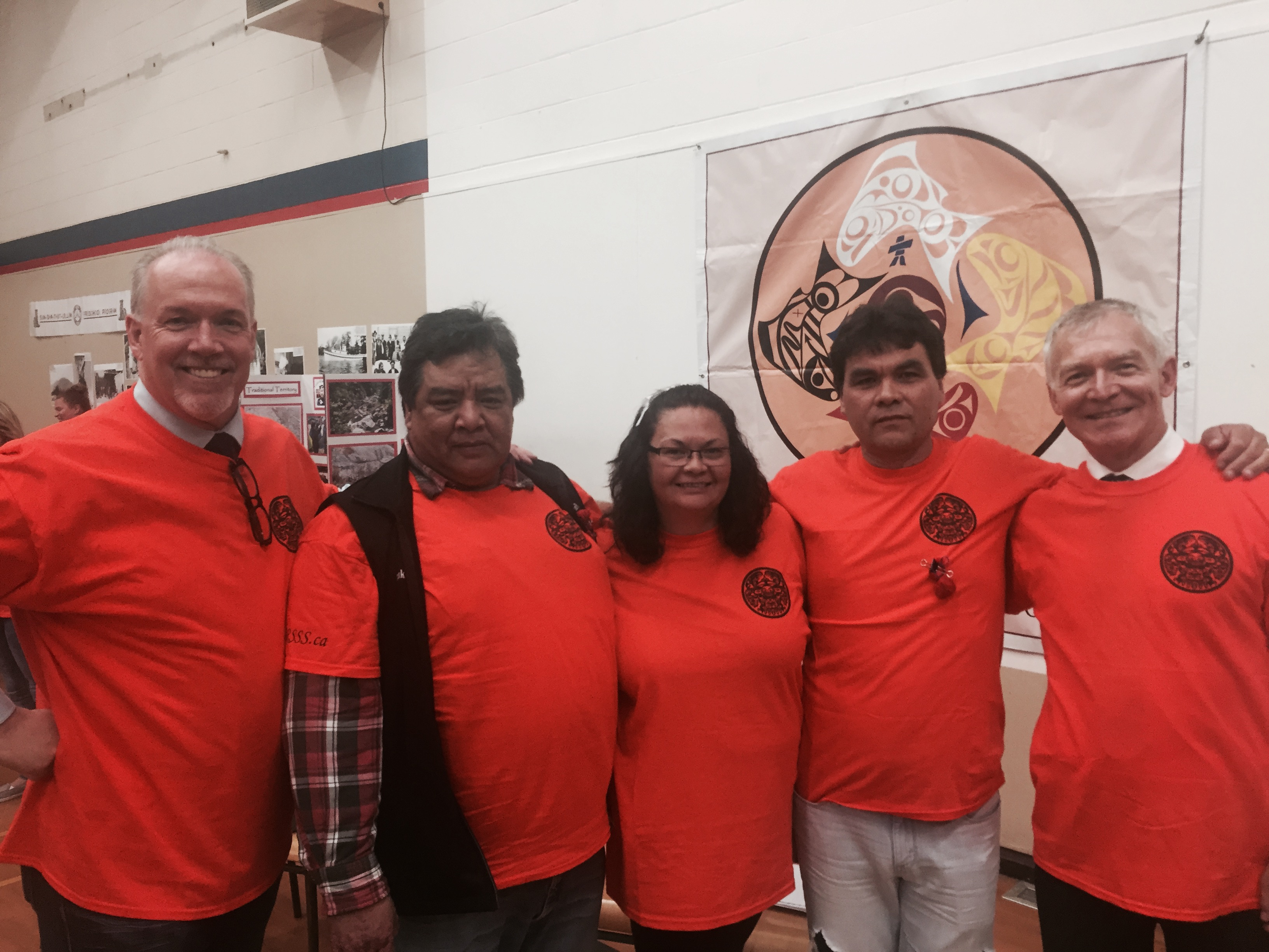 John Horgan, Rick Peters, Scia'new First Nations Member and Lead Drummer, Bernice Millette, Scia'new Council Member, Russ Chipps, Scia'new, Chief, and MLA Scott Fraser, Alberni-Pacific Rim, Opposition Spokesperson for Aboriginal Relations and Reconciliation